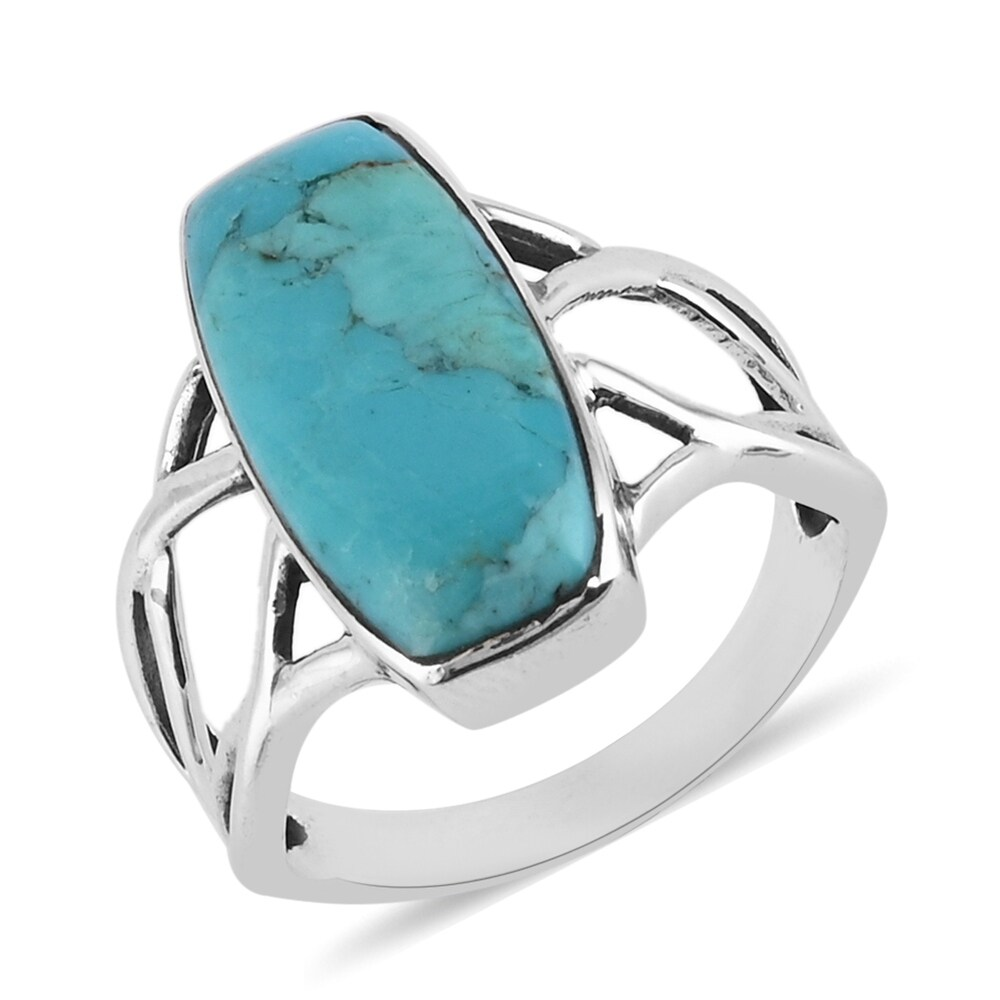 925 Silver Turquoise Solitaire Ring Southwest Ct 4 (Ring 9)