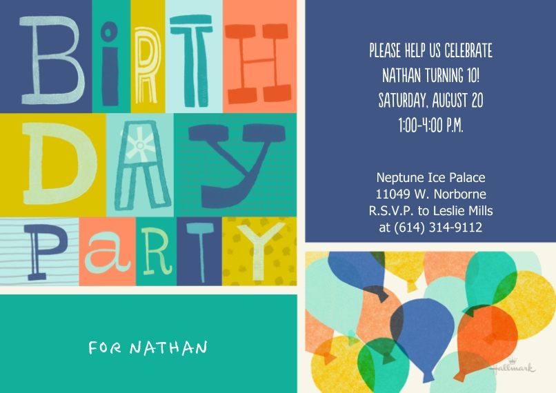 Kids Birthday Party Invites 5x7 Cards, Premium Cardstock 120lb with Rounded Corners, Card & Stationery -Colorful Birthday Party