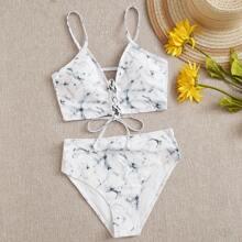 Sets de bikini Cruzado Tie-Dye Blanco Sexy