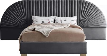 CLEOGREY-Q Cleo Grey Velvet Queen Bed (3
