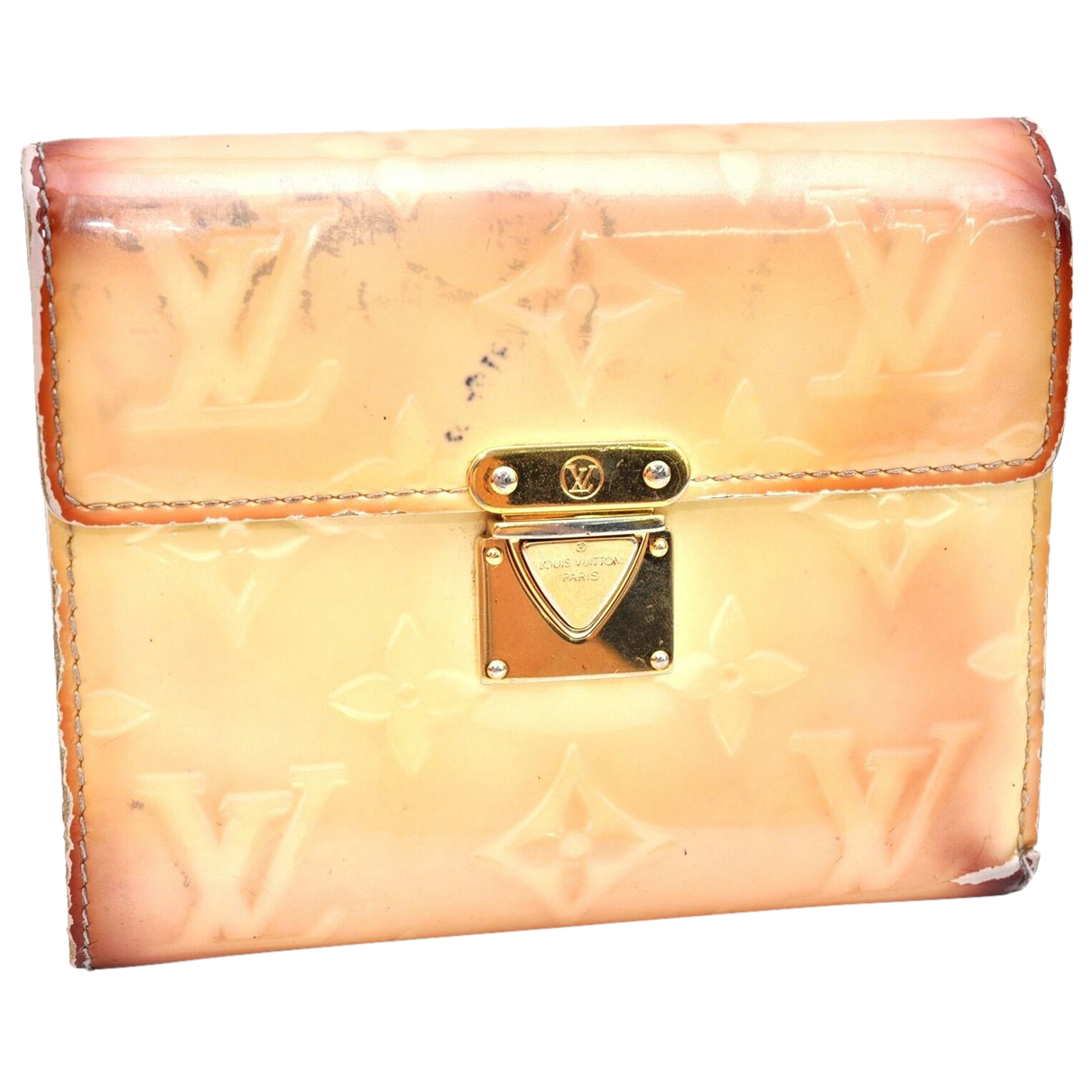 Louis Vuitton - Portefeuille   pour femme en cuir verni - camel