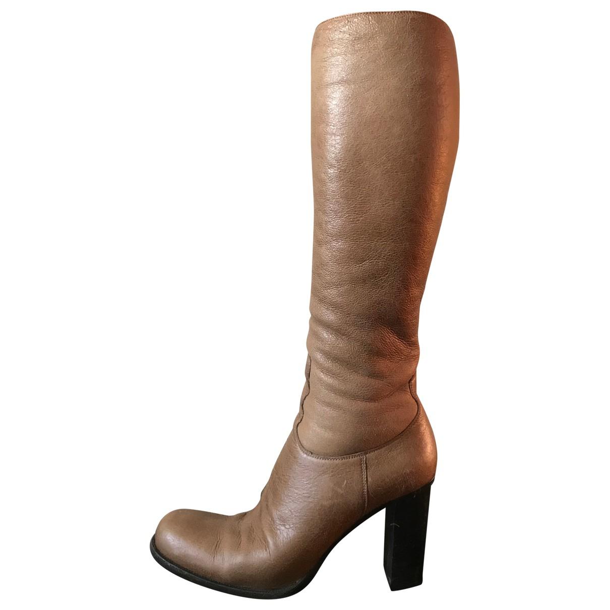 Jil Sander - Bottes   pour femme en cuir - beige