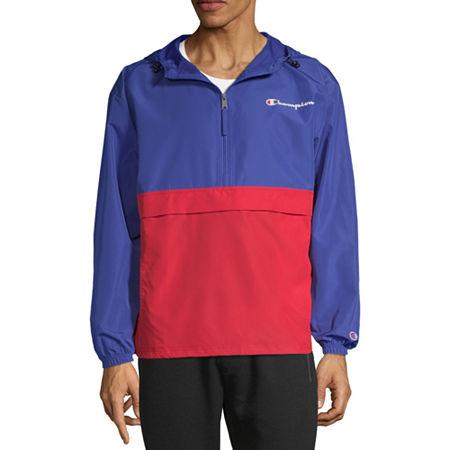 Champion Colorblock Packable Hooded Lightweight Windbreaker, Medium , Blue