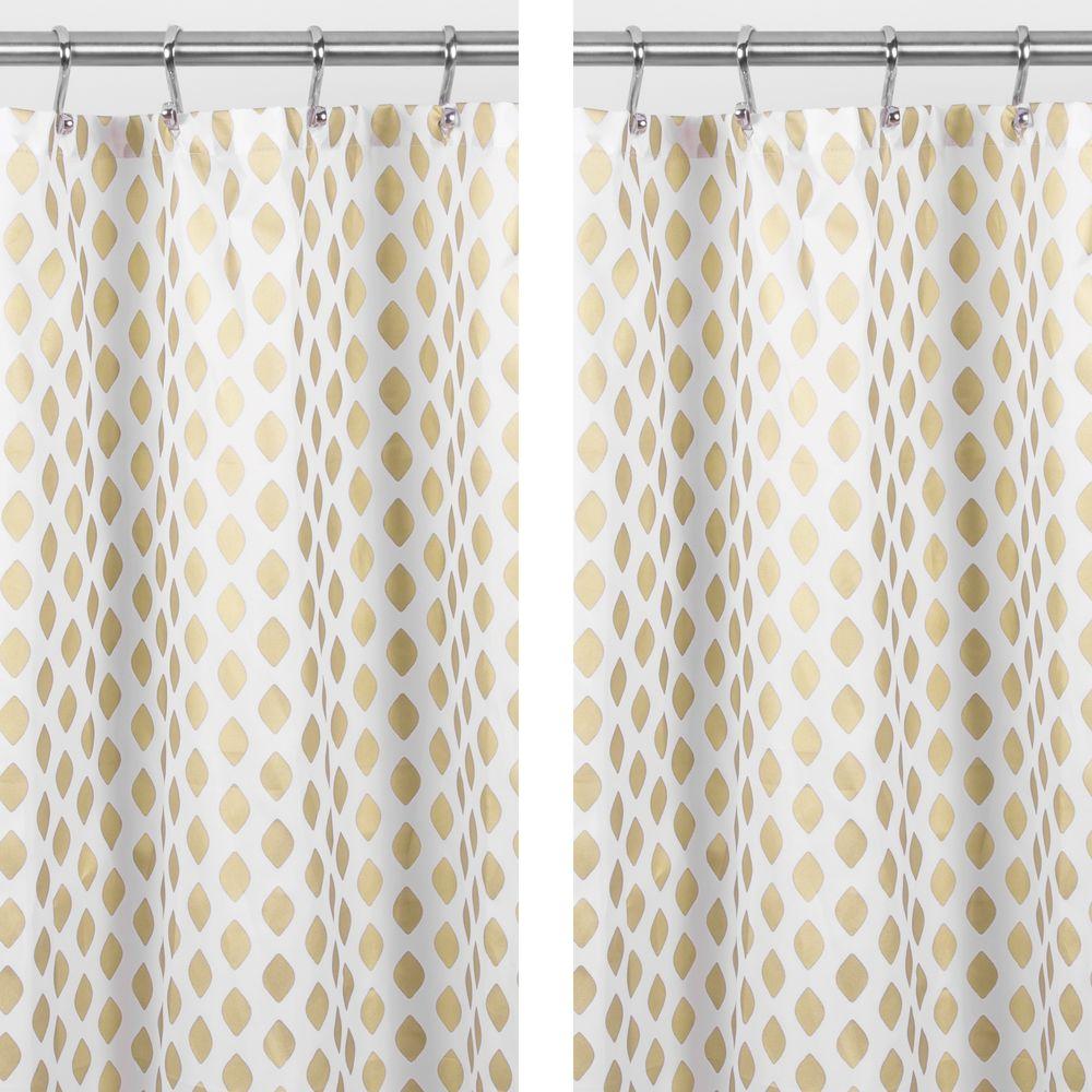 Diamond Print Bathroom Shower Curtain in Gold, 72