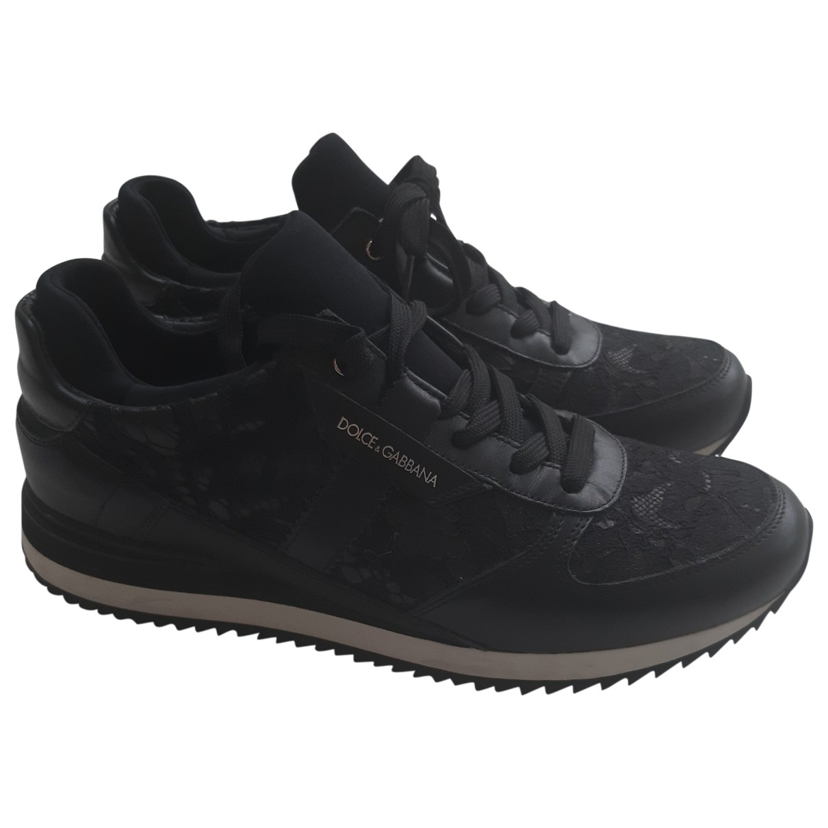 Dolce & Gabbana \N Black Leather Trainers for Women 38 EU
