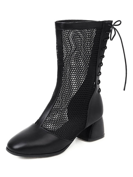 Milanoo Mesh Boots Block Heel Square Toe Boots For Summer
