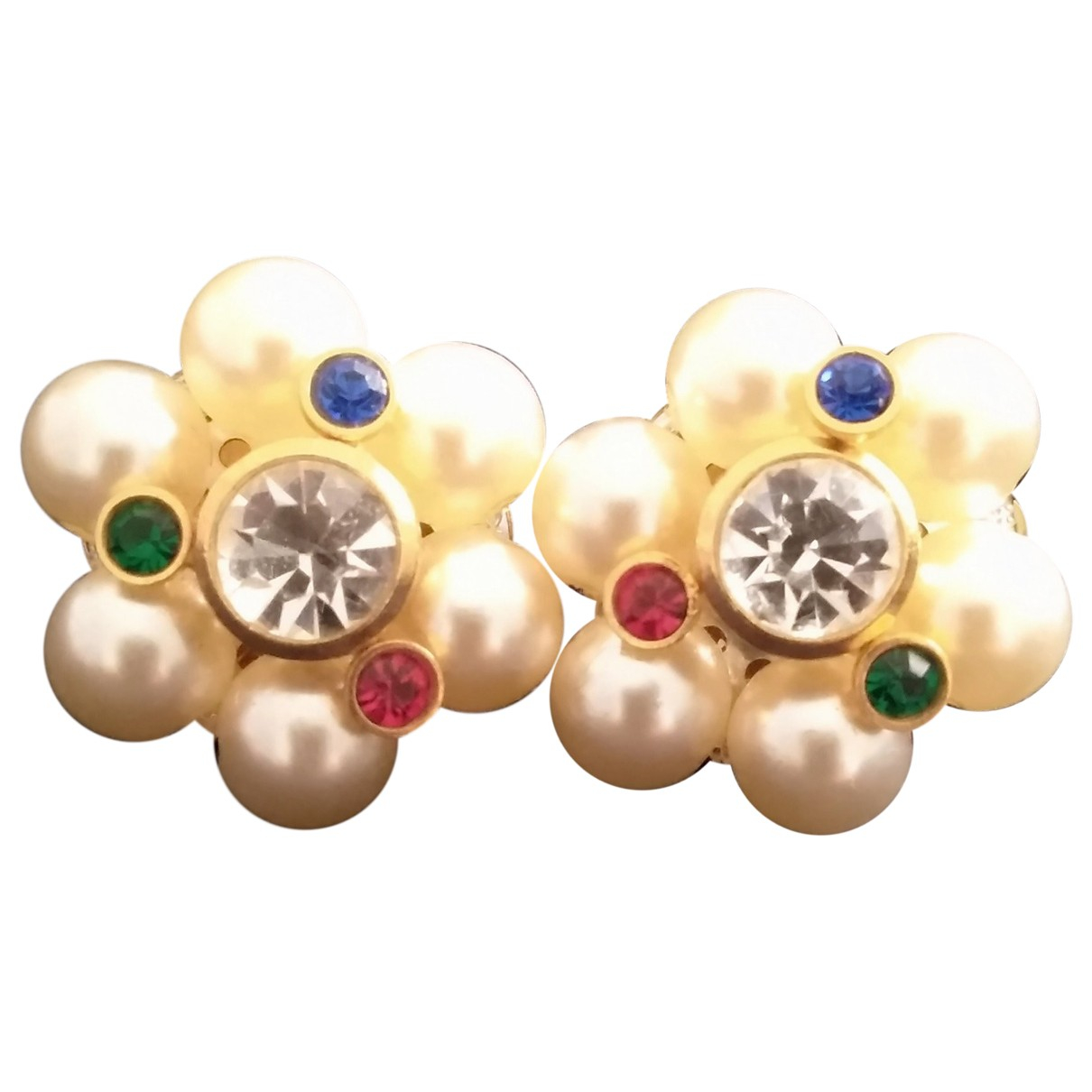 Non Signé / Unsigned Motifs Floraux White Earrings for Women N