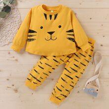 Toddler Boys Cartoon Tiger Print Tee & Sweatpants