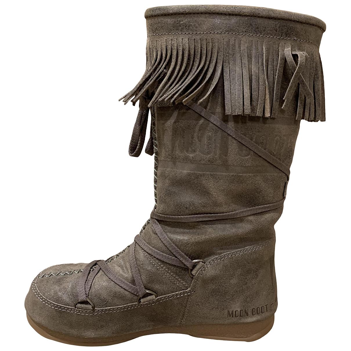 Moon Boot \N Stiefel in  Ecru Veloursleder