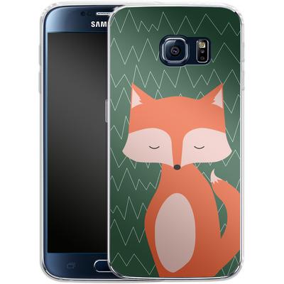 Samsung Galaxy S6 Silikon Handyhuelle - Fox on Green von caseable Designs