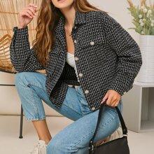 Flap Pocket Button Front Tweed Jacket