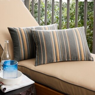 Sunbrella Stanton Greystone Indoor/ Outdoor Pillow (Set of 2) (12 in H x 24 in W)