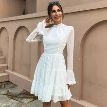Chiffon Kleid mit Stehkragen, Rueschenbesatz und Punkten Muster