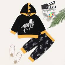 Baby Boy Dinosaur Patched Hoodie With Sweatpants
