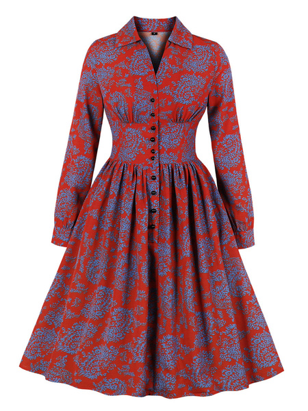 Milanoo Vintage Dress Womens Printing Design Buttons Long Sleeve Midi Retro Dresses