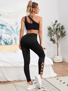 Asymmetrical Neck Top With Leggings