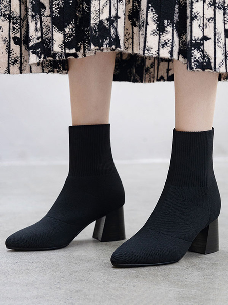 Milanoo Women Knit Boots Pointed Toe Flare Heel 2.6 Sock Booties