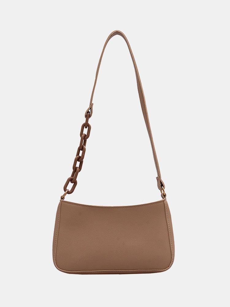 Women Patchwork Chain Bow Solid Shoulder Bag Handbag