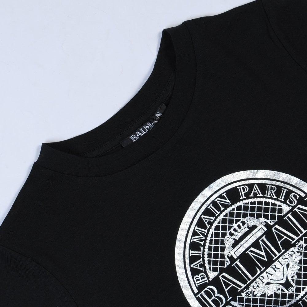 Balmain Paris Kids Silver Medallion T-Shirt Colour: BLACK, Size: 6 YEA