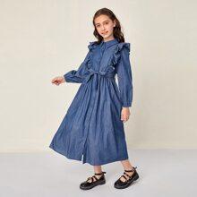 Kleid mit Rueschen, Knopfen vorn und Guertel