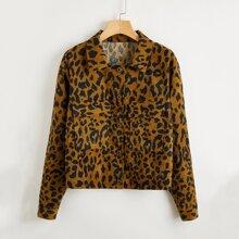 Kord Jacke mit Leopard Muster und Taschen Klappe