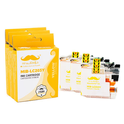 Compatible Brother LC203Y - LC203 Yellow Ink Cartridge by Moustache, 3 Pack - High Yield
