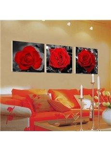 New Arrival Beautiful Red Roses Print 3-piece Cross Film Wall Art Prints