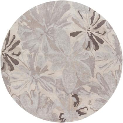 Athena Collection ATH5135-6RD Round 6' Area Rug with Hand Tufting and Wool Material in Neutral and Grey