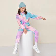 Girls Letter Graphic Tie Dye Hoodie & Joggers Set