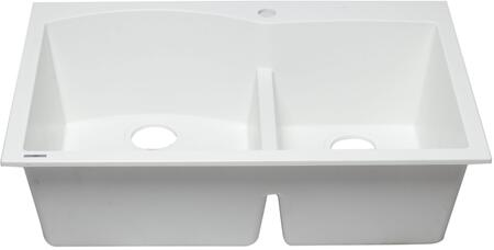 AB3320DI-W 33 Double Bowl Kitchen Sink with Granite Composite  Drop-In Installation Hardware and One Pre-Drilled Faucet Hole in