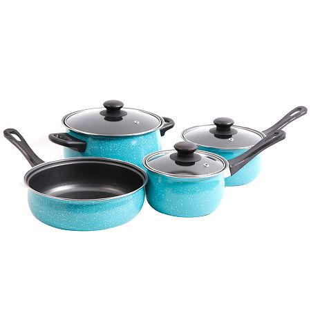 Casselman 7 pc - Turquoise - Enamel Look - Bakelite Snow Handle - Carbon Steel Cookware Set, One Size , Blue