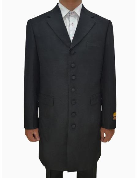 Mens Black  Seven Button Zoot Suits