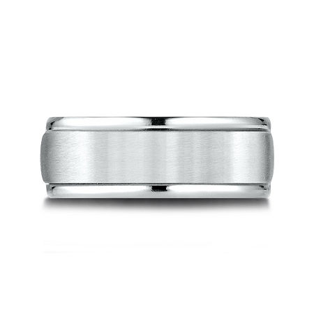 Mens 10K White Gold 8mm Band, 11 1/2 , No Color Family