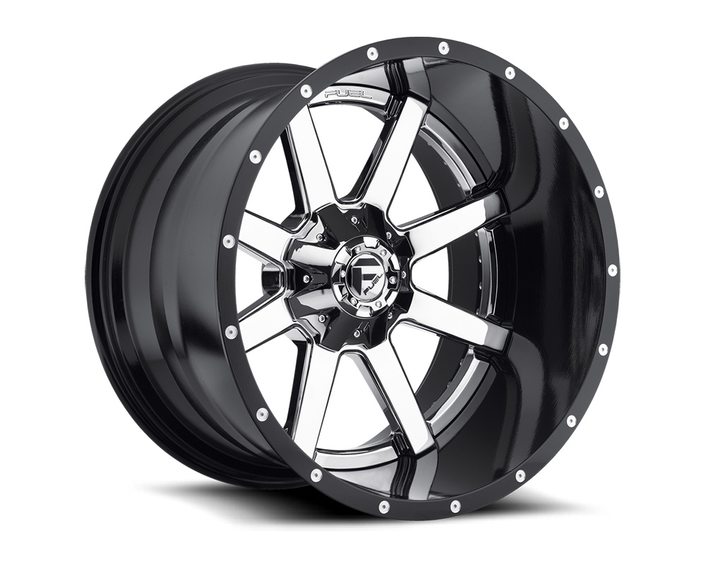 Fuel D260 Maverick Chrome w/ Gloss Black Lip 2-Piece Cast Wheel 22x14 8x165.1 -70mm
