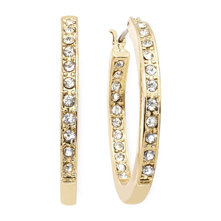 Monet Crystal Gold-Tone Hoop Earrings, One Size , White