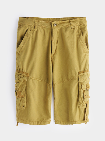 Yoins Khaki Side Pockets Camouflage Button & Zipp Wait Men's Cargo Shorts
