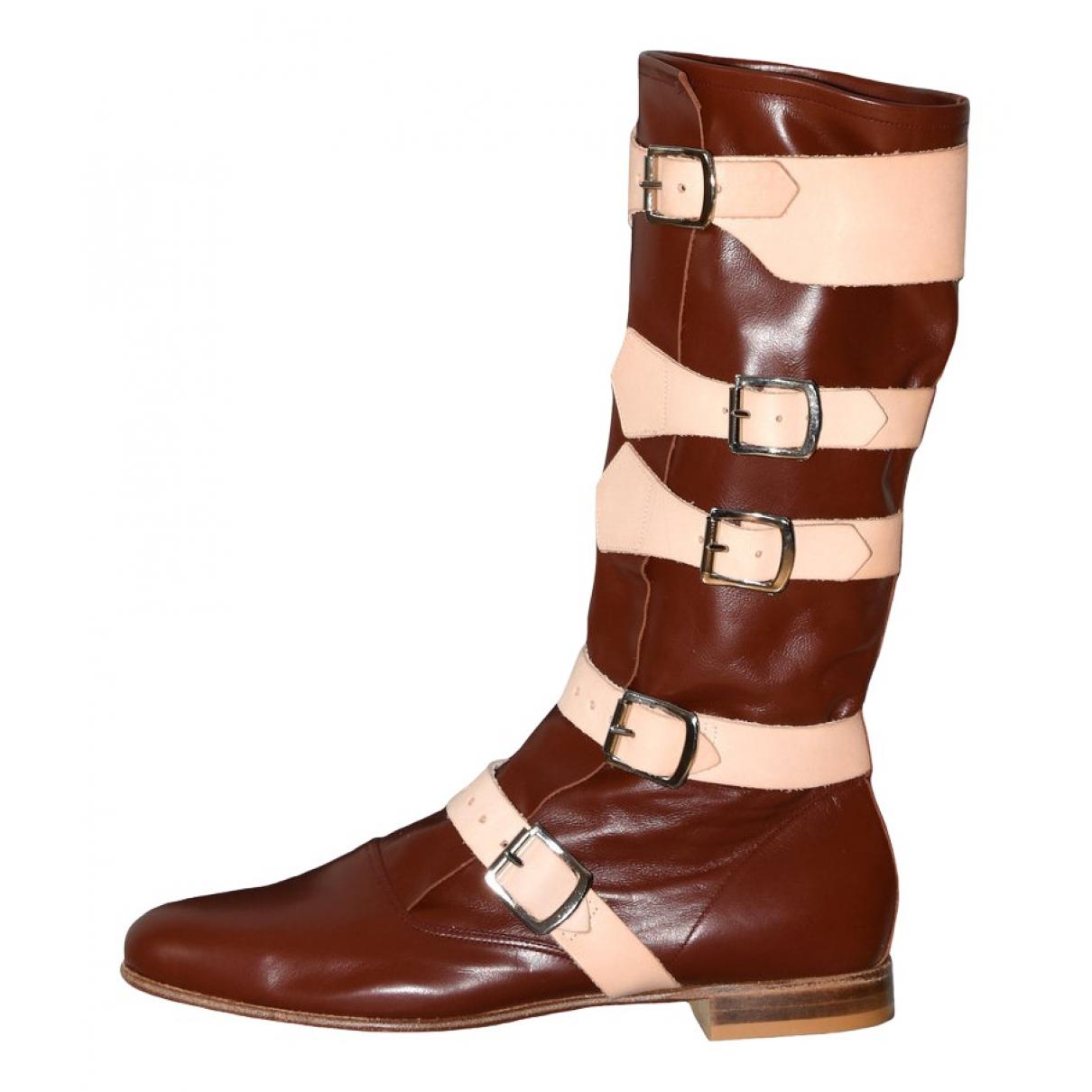 Vivienne Westwood N Brown Leather Boots for Men 41 EU