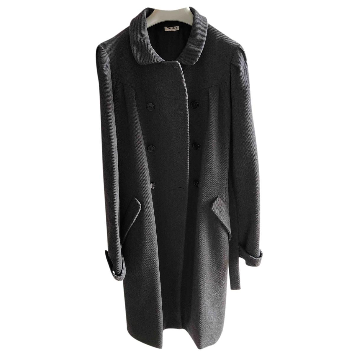 Miu Miu - Manteau   pour femme en laine - gris