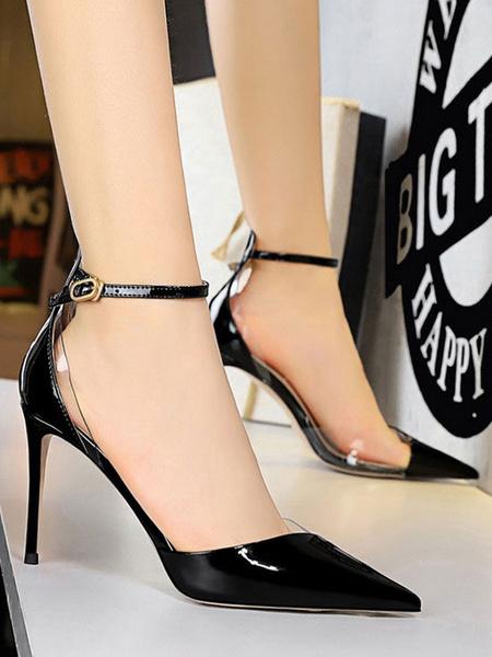 Milanoo Women's High Heels Stiletto Strap Adjustable Pointed Toe Elegant Black Shoes