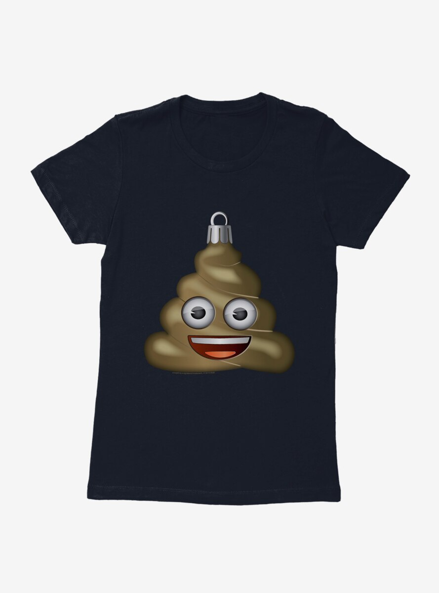 Emoji Holiday Icons Poop Ornament Womens T-Shirt