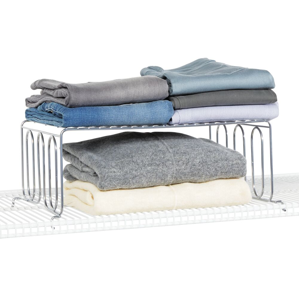Metal Wire Shelf Divider & Separator for Closet Storage in Chrome, 12 x 16.4 x 6.3, by mDesign