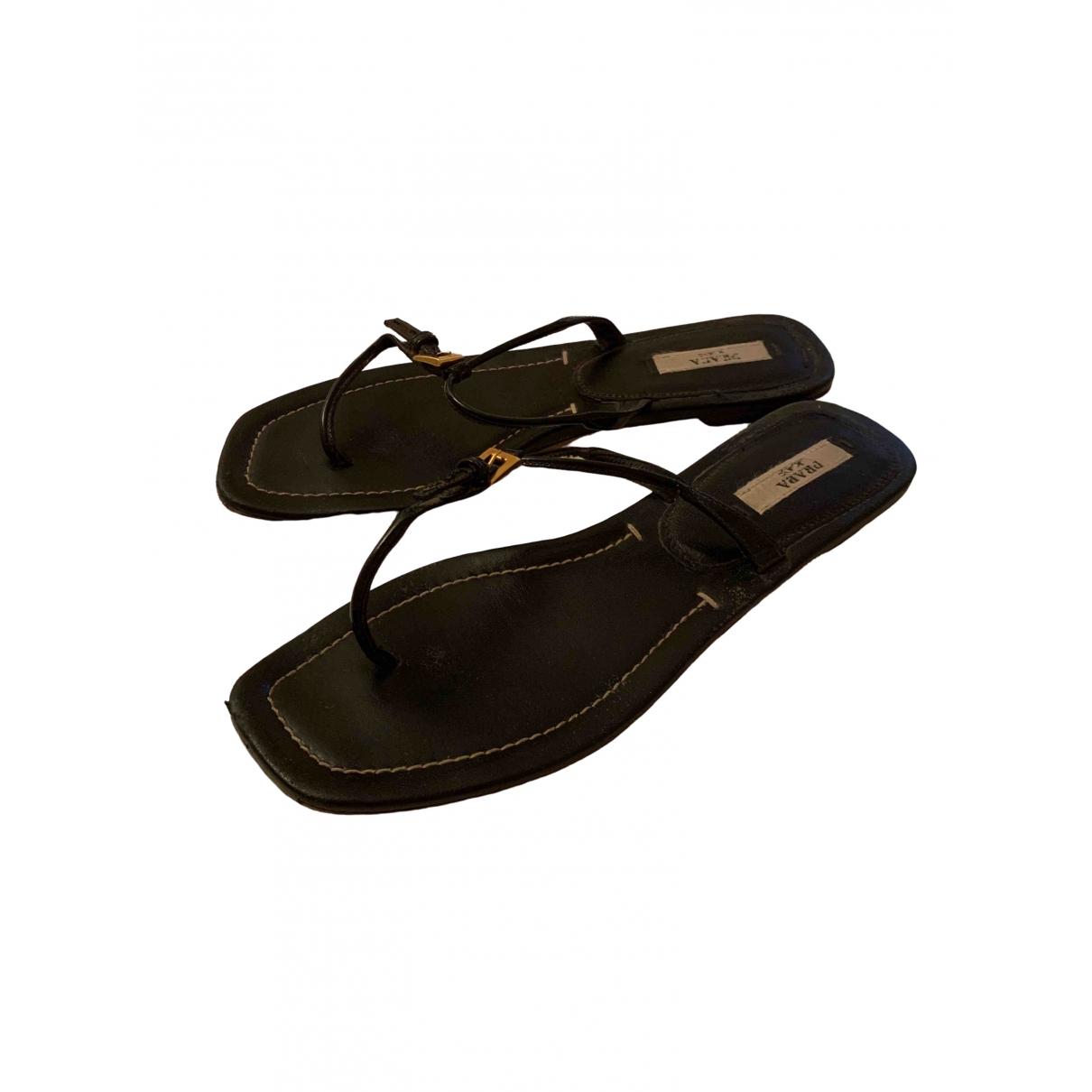 Prada \N Black Leather Sandals for Women 36.5 EU