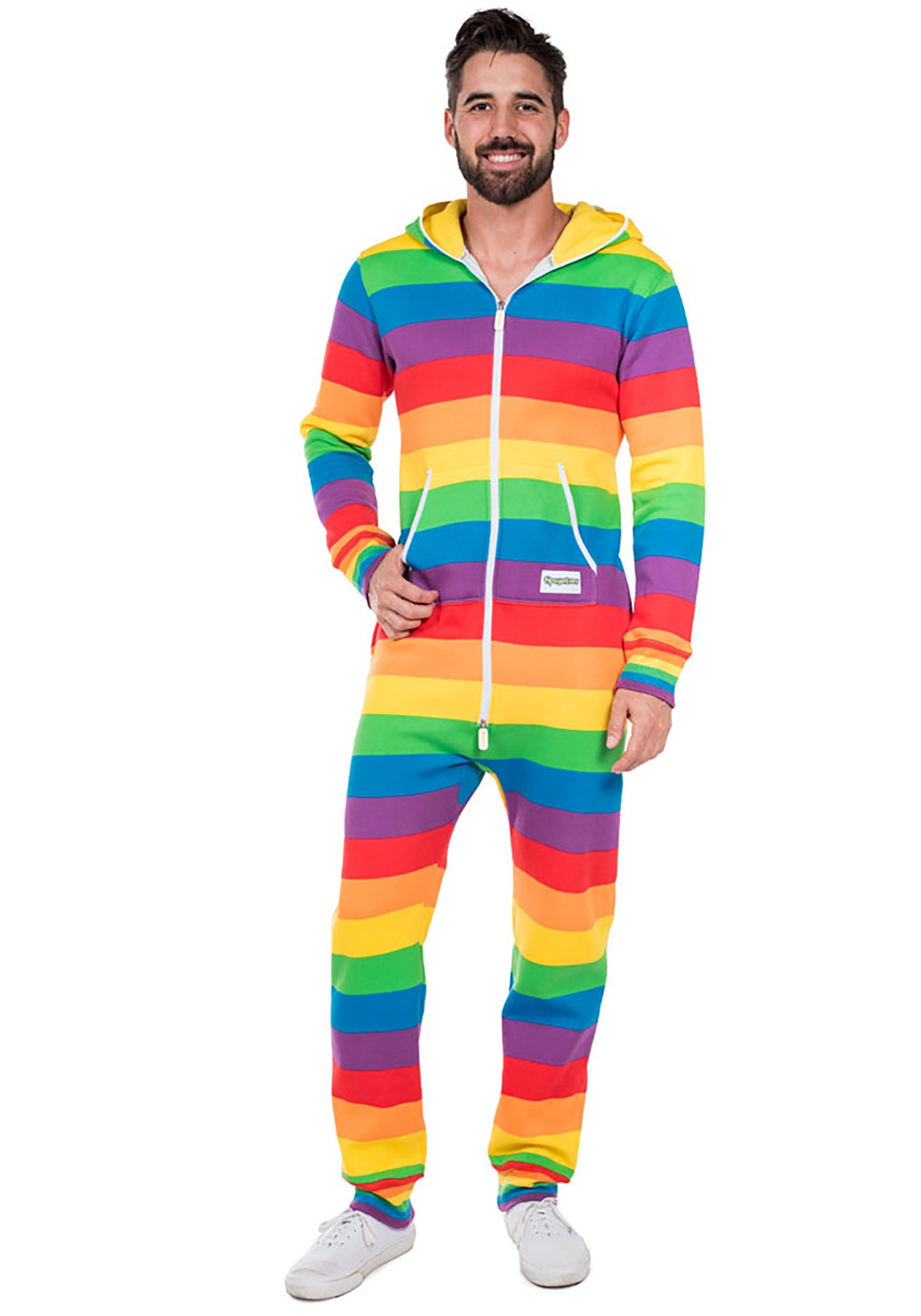 Men's Tipsy Elves Rainbow Jumpsuit Costume