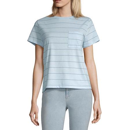 Arizona Juniors-Womens Crew Neck Short Sleeve T-Shirt, X-large , Blue