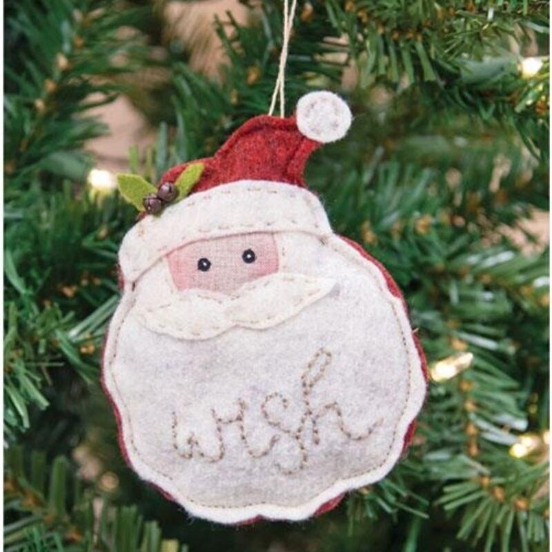 Felt Santa Wish Ornament (White)