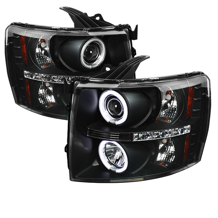 Spyder Auto PRO-YD-CS07-CCFL-BK Black CCFL Halo LED Projector Headlights with High H1 and Low H1 Lights Included Chevrolet Silverado 3500 07-14