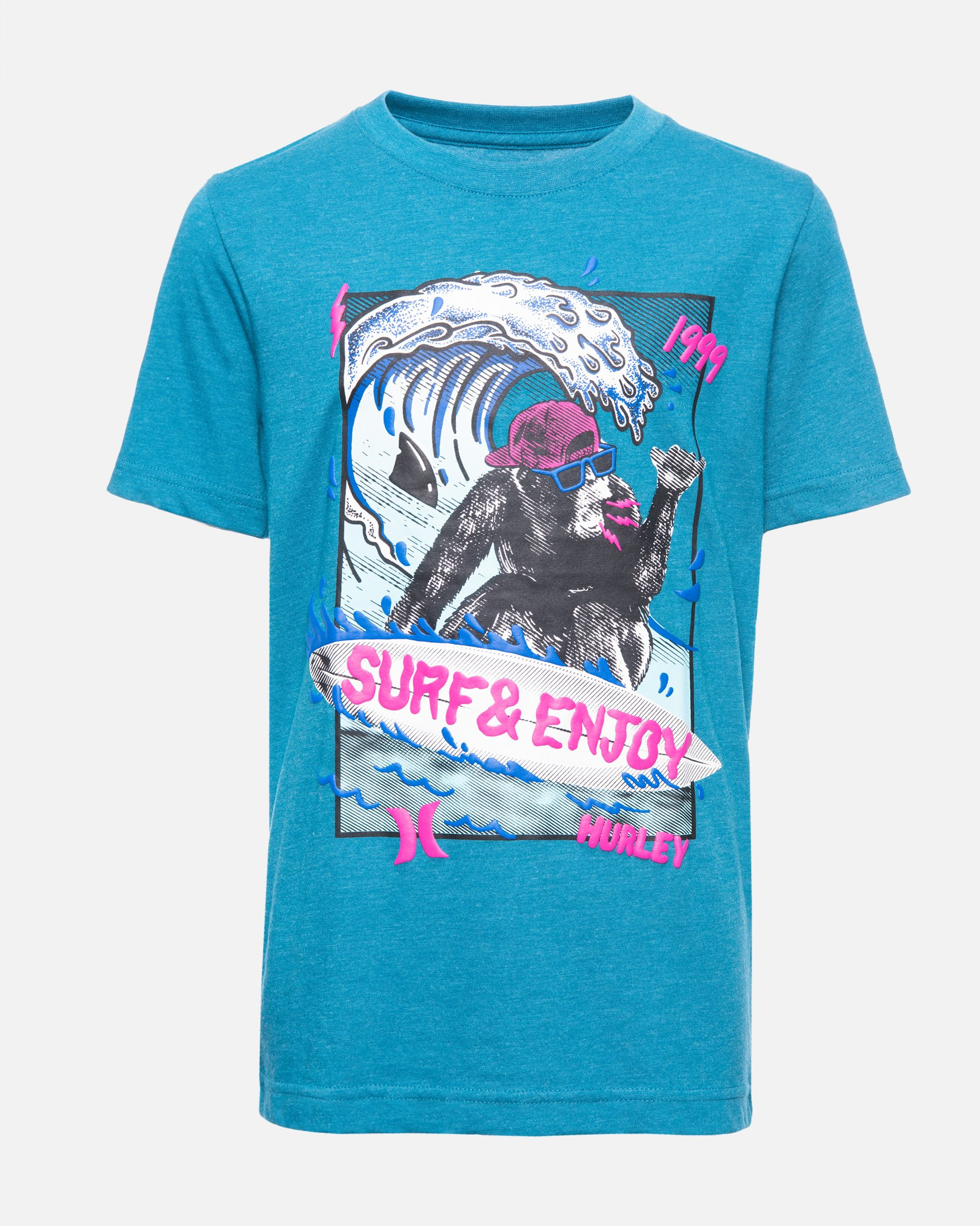 Boys' Surfin Chimp T-Shirt in Green Abyss Heather, Size Large
