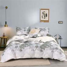 Fish Scale Print Bedding Set Without Filler