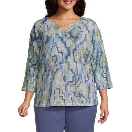Alfred Dunner Plus Palo Alto-Womens Keyhole Neck 3/4 Sleeve T-Shirt, 1x , Blue