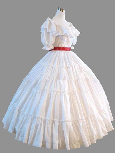 Milanoo Disfraz Halloween Disfraces retros blancos Ruffle Mujeres Marie Antoinette Costume Vintage Set Party Prom Dress Carnaval Halloween